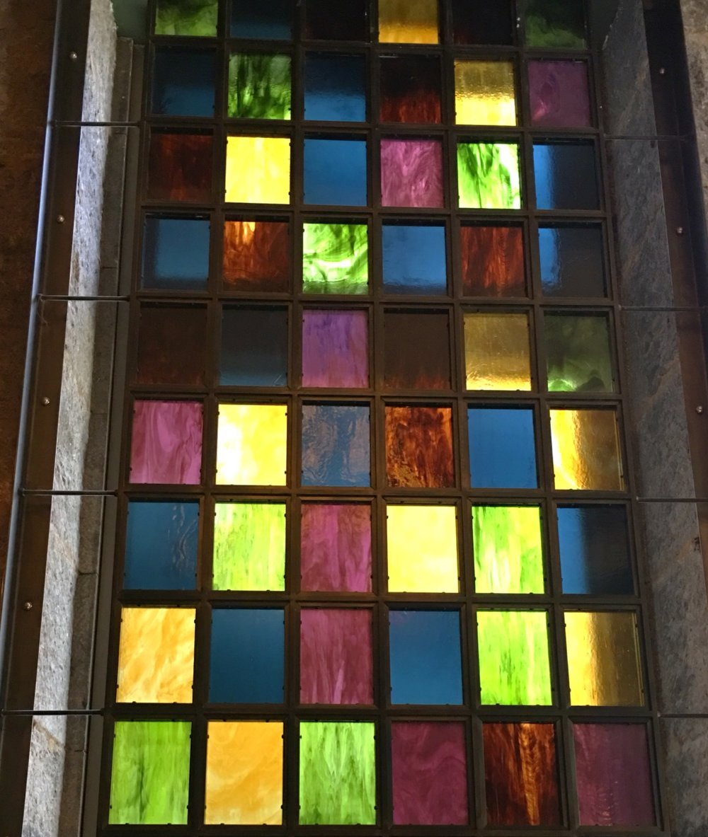 Awesome stained glass inside Temple Court.