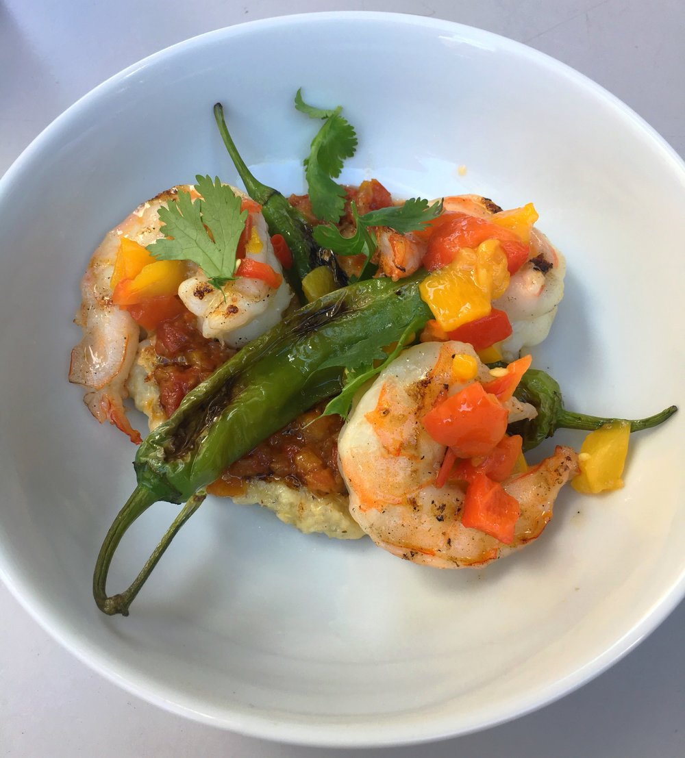 Scrumptious grilled shrimp with polenta and shishito peppers at Untitled at the Whitney Museum. Same scene as that fab GF cookie.
