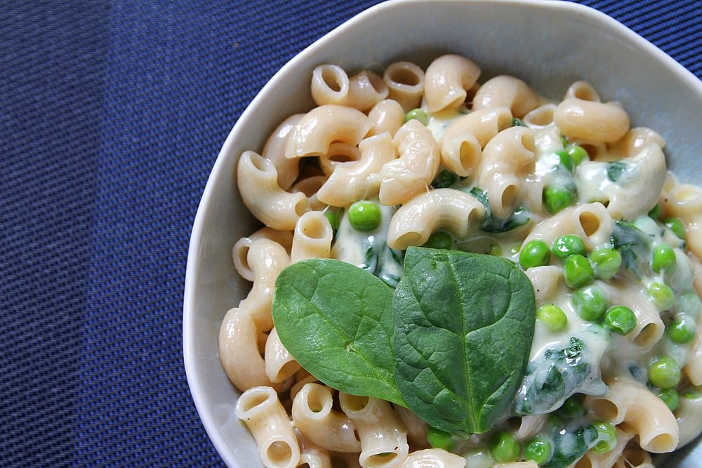 Gluten free elbow pasta with gruyère, (we added) fontina, spinach, and peas. Recipe from  Dinner Changing the Game.