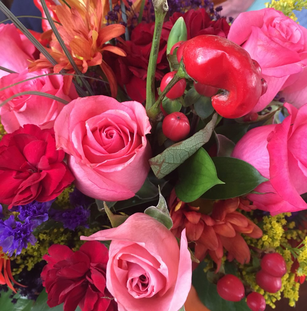 Beautiful floral centerpiece at a recent family gathering.