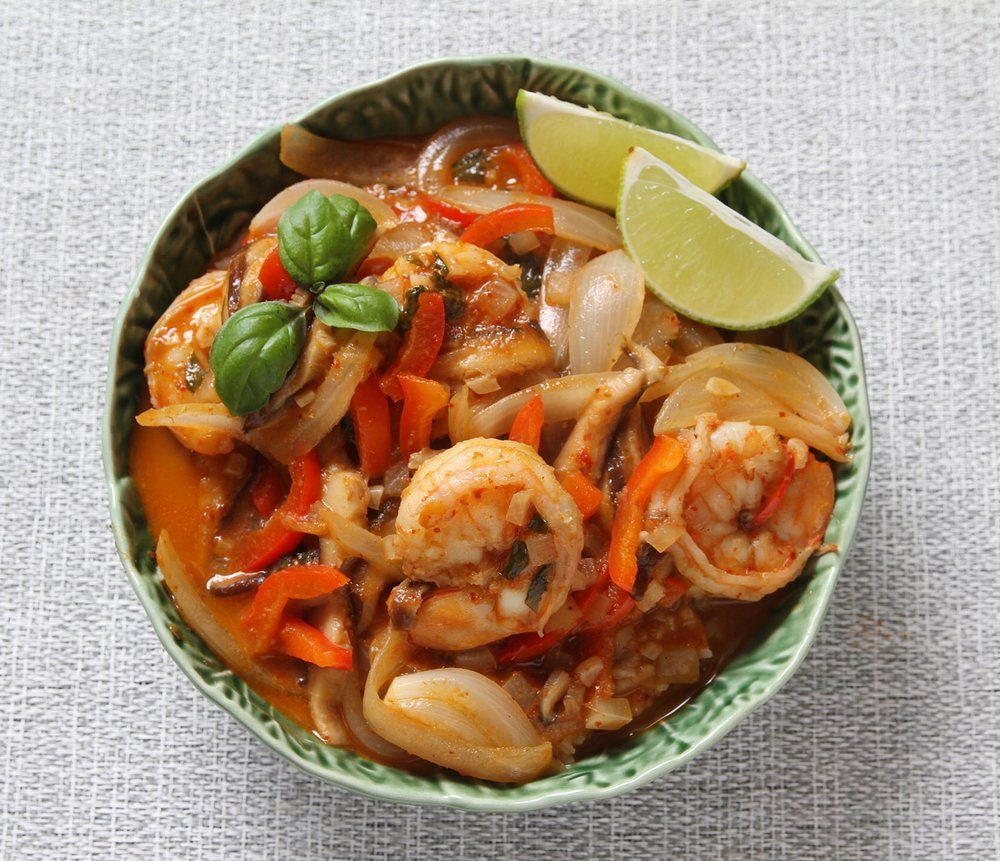 Red coconut curry with shrimp.
