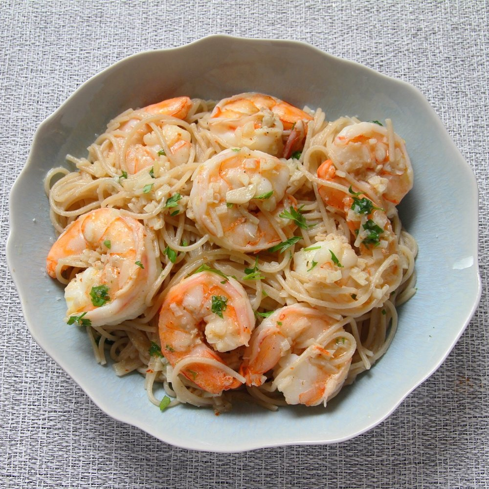 Classic shrimp scampi with gluten free capellini.