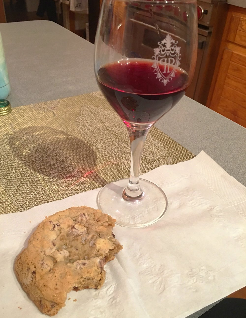 Post clean-up cookie and wine. Everyone does this, right?