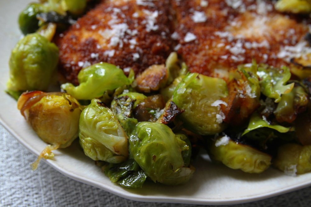 Brussels sprouts and Panko-breaded chicken.
