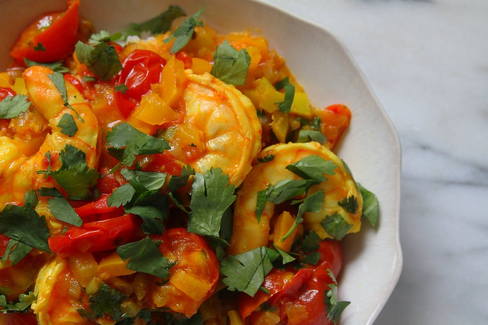 Sweet and Sour Shrimp, topped with cilantro.
