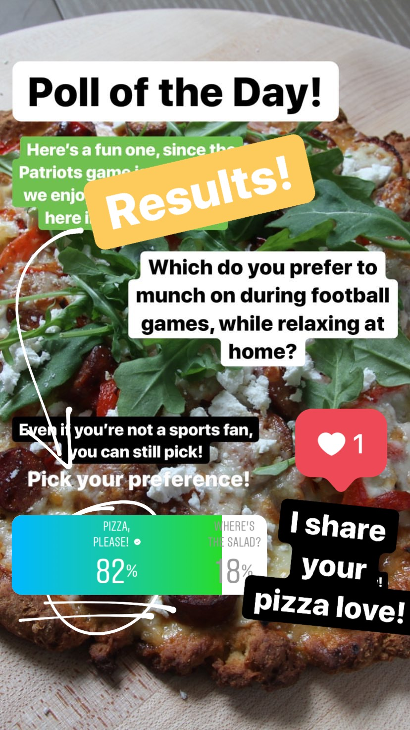 Was there any surprise here? Pizza won in a landslide and while I appreciate the thought of having salad while watching sports, it just doesn't seem to fit my own sports-watching mindset. Kudos to those who chose greens! There are many other options here, too: besides pizza, who wouldn't love to settle in for a game with a gorgeous platter of nachos? Extra guacamole, please! We also love a great artichoke dip, especially that one we featured a while ago with four kinds of cheese! Amazing! :)