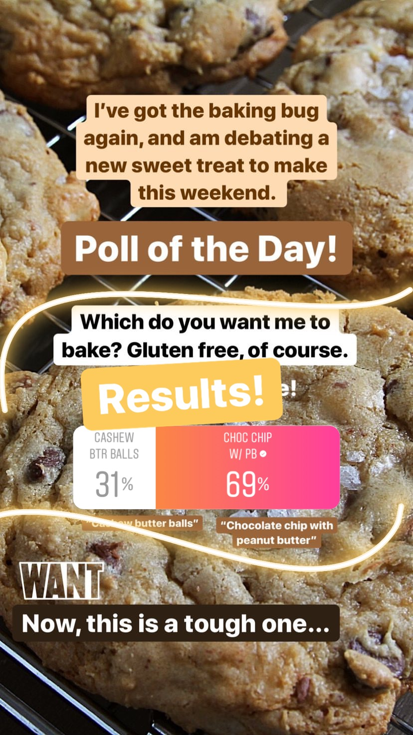 Once again, there's really no contest, although I was really hoping more than 31% of you would be interested in the cashew butter balls! I certainly am and that's why I will be making them. However, have no fear Chocolate chip cookie fans, I am going to bake both!! This coming weekend, we are going to do the chocolate chip and peanut butter cookies, and then for Christmas I am going to try my luck at those cashew butter balls. See? Everyone wins! But I was quite impressed with the numbers flying high for the peanut butter; you guys love it! Let's get baking. :)