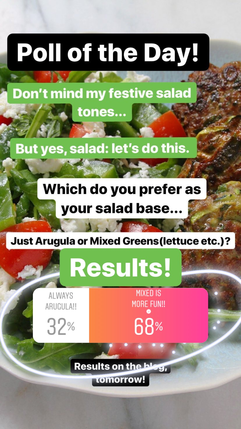 "You know, I'm surprised! As someone pretty staunchly on the ""always arugula"" side, I kind of expected more of you to join me there. However! That's clearly not the case and you guys love a good mixed greens bowl. I do like those, especially for a great Caesar salad, but I've really been enjoying the simplicity of arugula as a base lately and find it far more flavorful if you don't have much else to add to the salad. To each their own, as you say! And in this case, a mix seems to be more fun! :)"