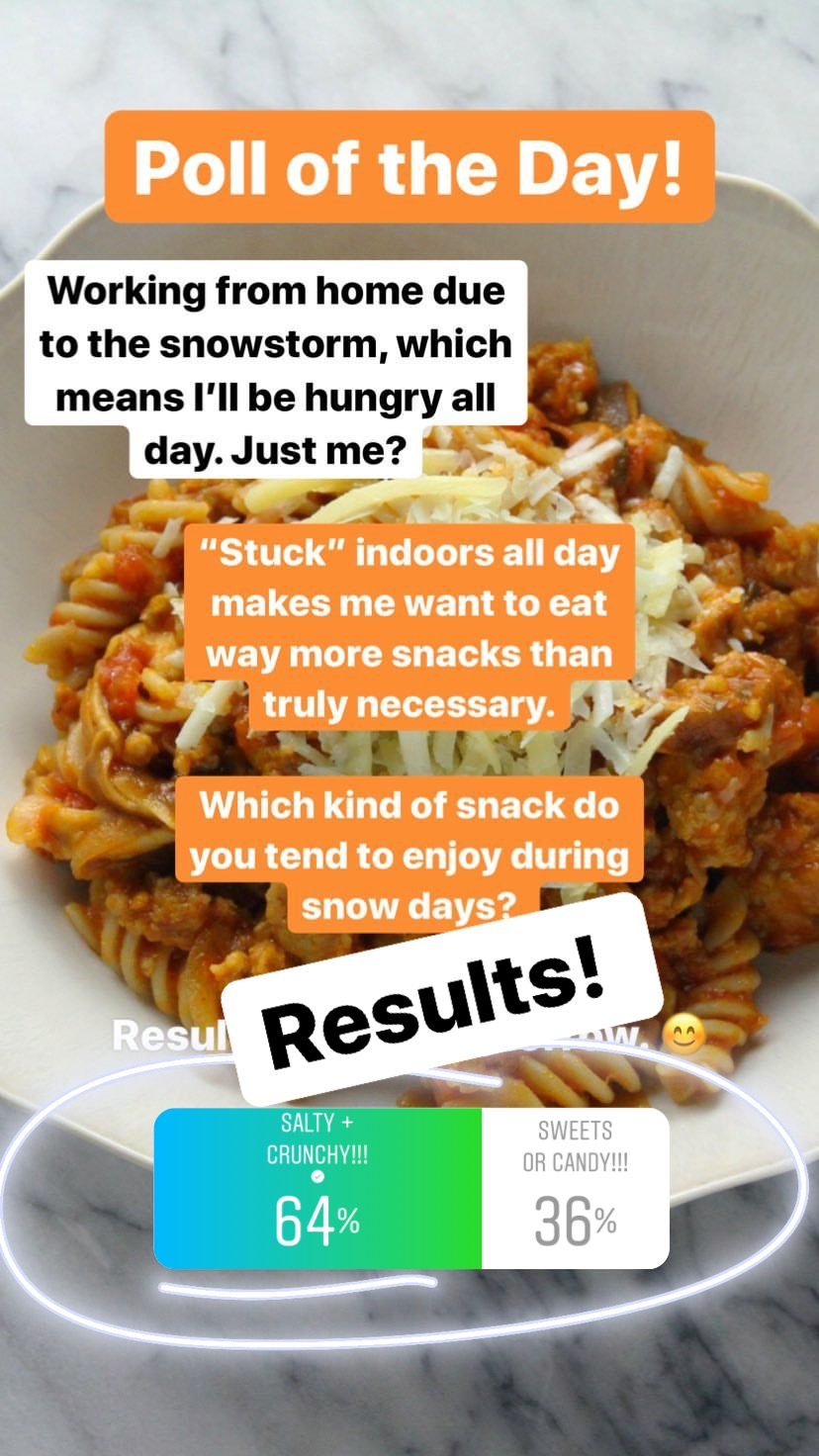 The snow day results are in! And the salt crew easily took over winning through and through. If you noticed on my Stories and meals during the storm, I definitely leaned in to the salty snacks: breakfast tacos for lunch and salty, veggie pizzas at dinner. Pretty much a walking (eating?) example of the winning side on this poll. Now, I have my fair share of sweet snacks that I indulge in from time to time, but overall, a salty/crunchy snack will always have my heart. But let's be clear: I kind of love gummy candy and while I know there are some that are gluten free, I often pretend they are not so that I won't eat pounds of gummies in my spare time. ;)