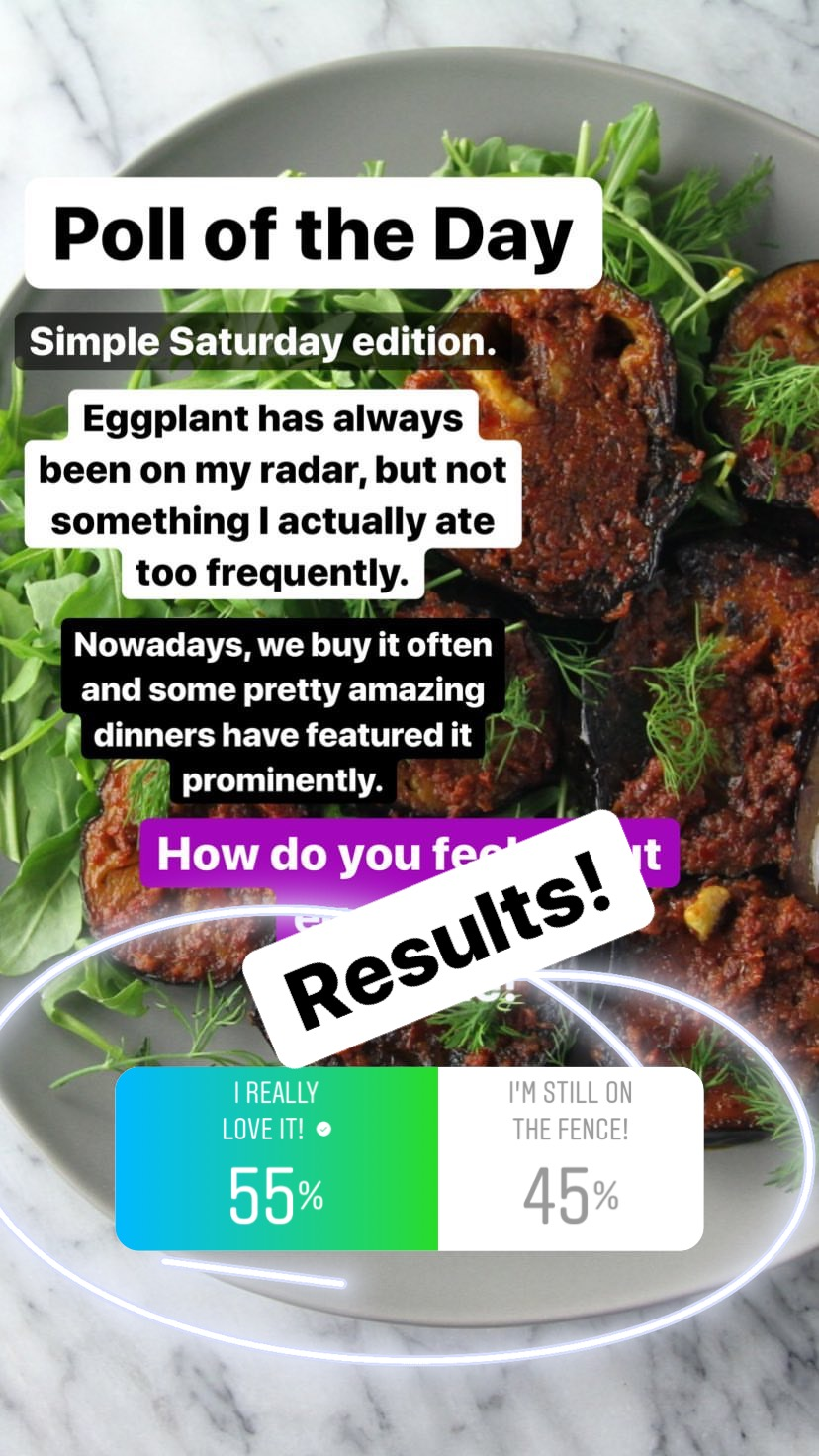 Almost split on this one! I'm glad the love it group pulled ahead though since I really think eggplant is making a cool comeback. And despite not really knowing too much about it until recently, I really appreciate how versatile it can be. We love it as eggplant parm, especially, but are enjoying finding new ways to prepare this fun purple veggie.