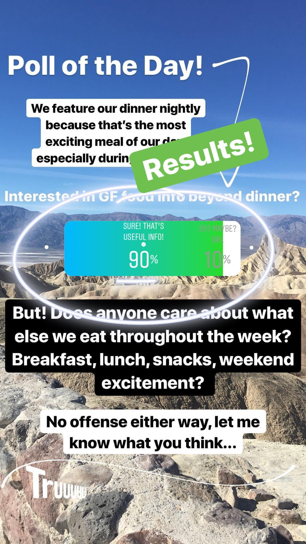 Well, thank you for this insight! I'm honored to know that most of you wouldn't mind a little beyond-dinner info about our other meals/snacks during the week. While it may not be the most overwhelming information, it might be helpful for those seeking daytime ideas for breakfast and lunches that are gluten free. Stay tuned as a daytime food series could just be in the works!