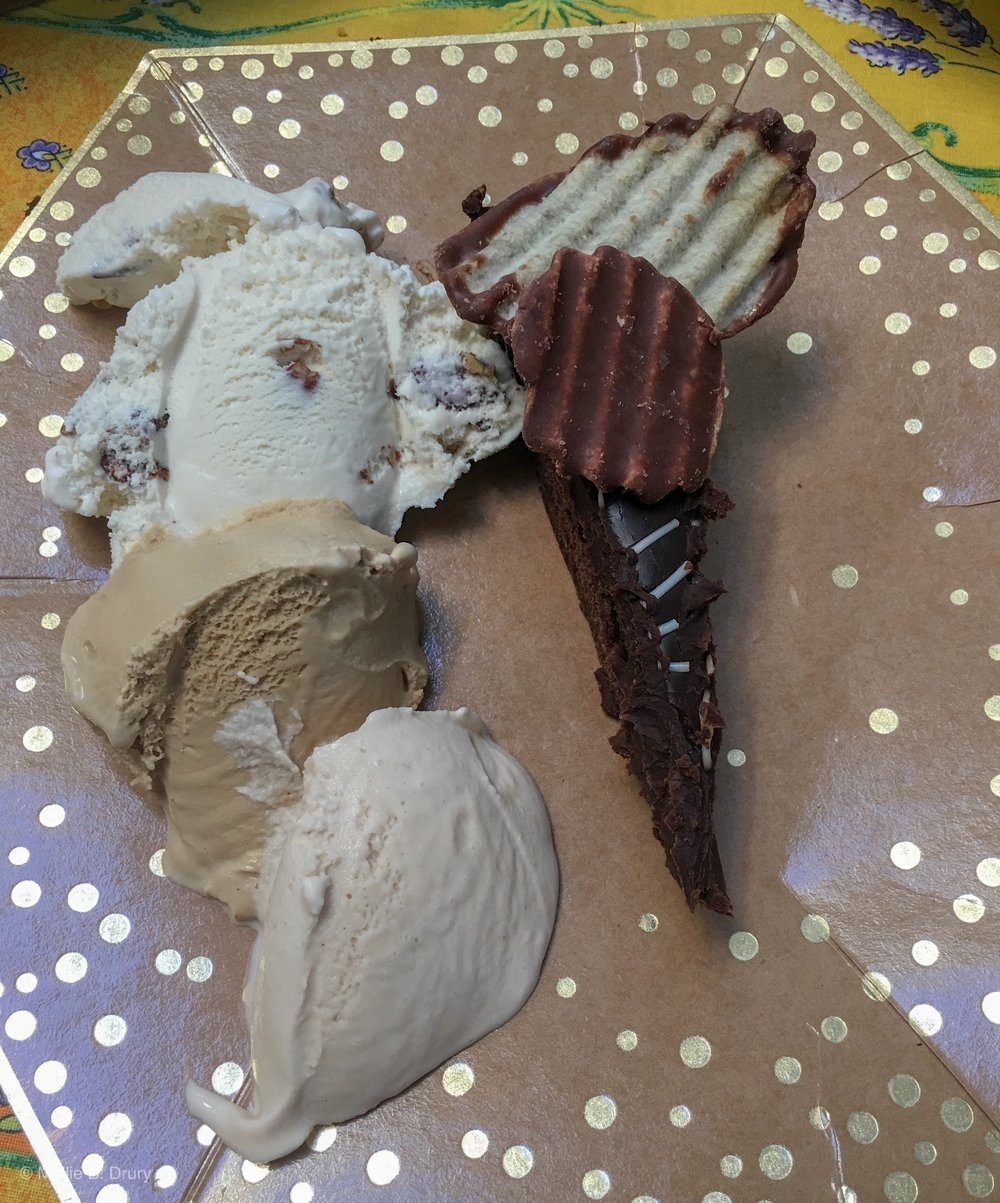 Ice cream sampler and flourless chocolate cake for a family gathering. :) Yes, those are chocolate-covered potato chips!