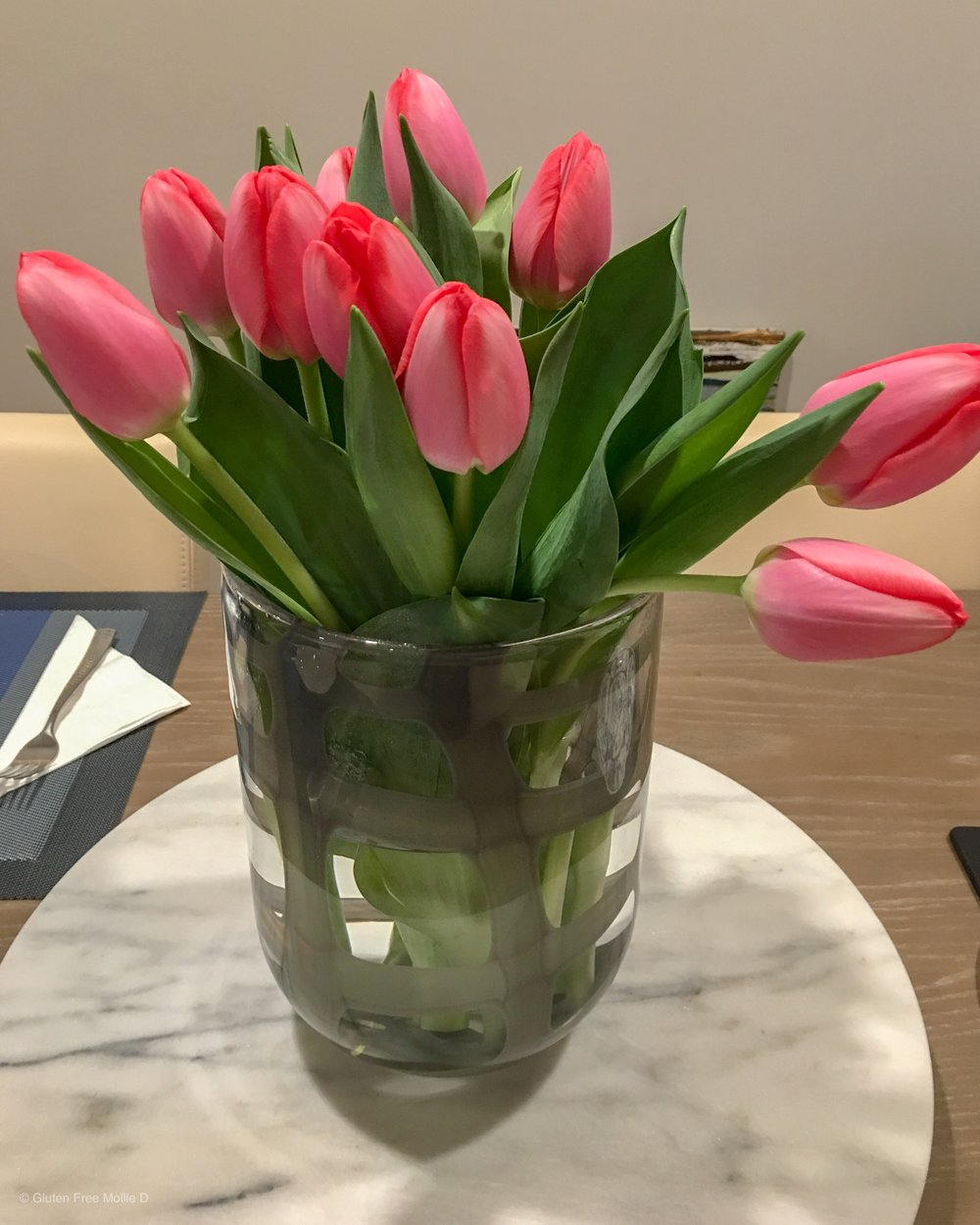 Pink tulips really pop in our new dining space.