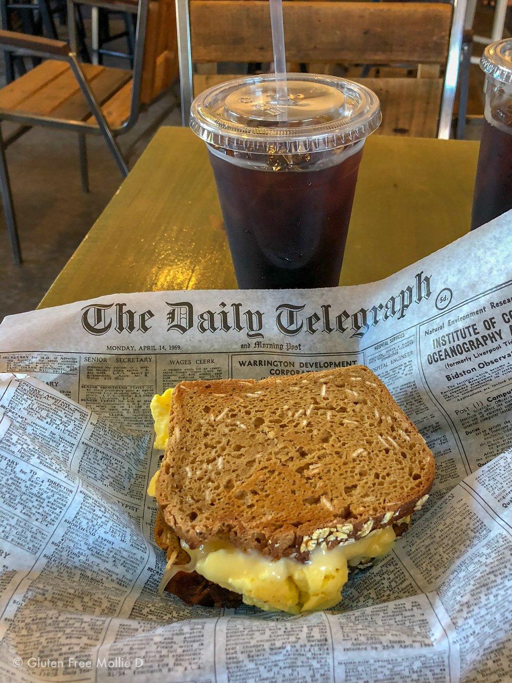 GF breakfast sandwich and iced coffee. :)