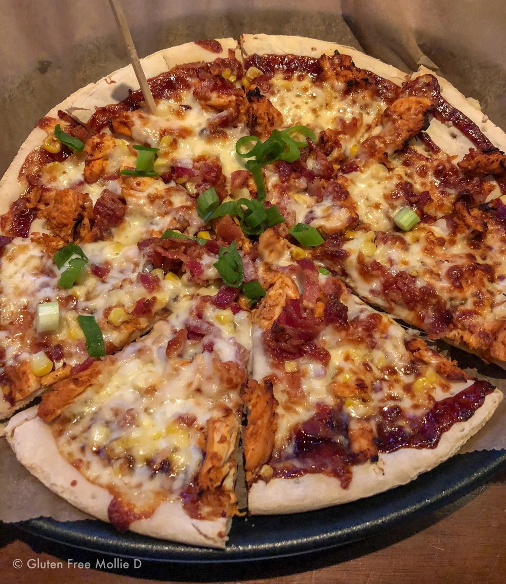 BBQ Chicken Pizza: GF crust and need I say more?