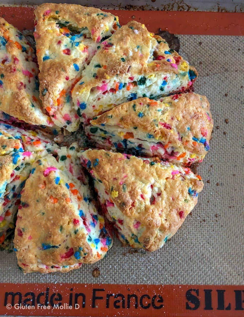 Birthday Cake Scones. Quite colorful!