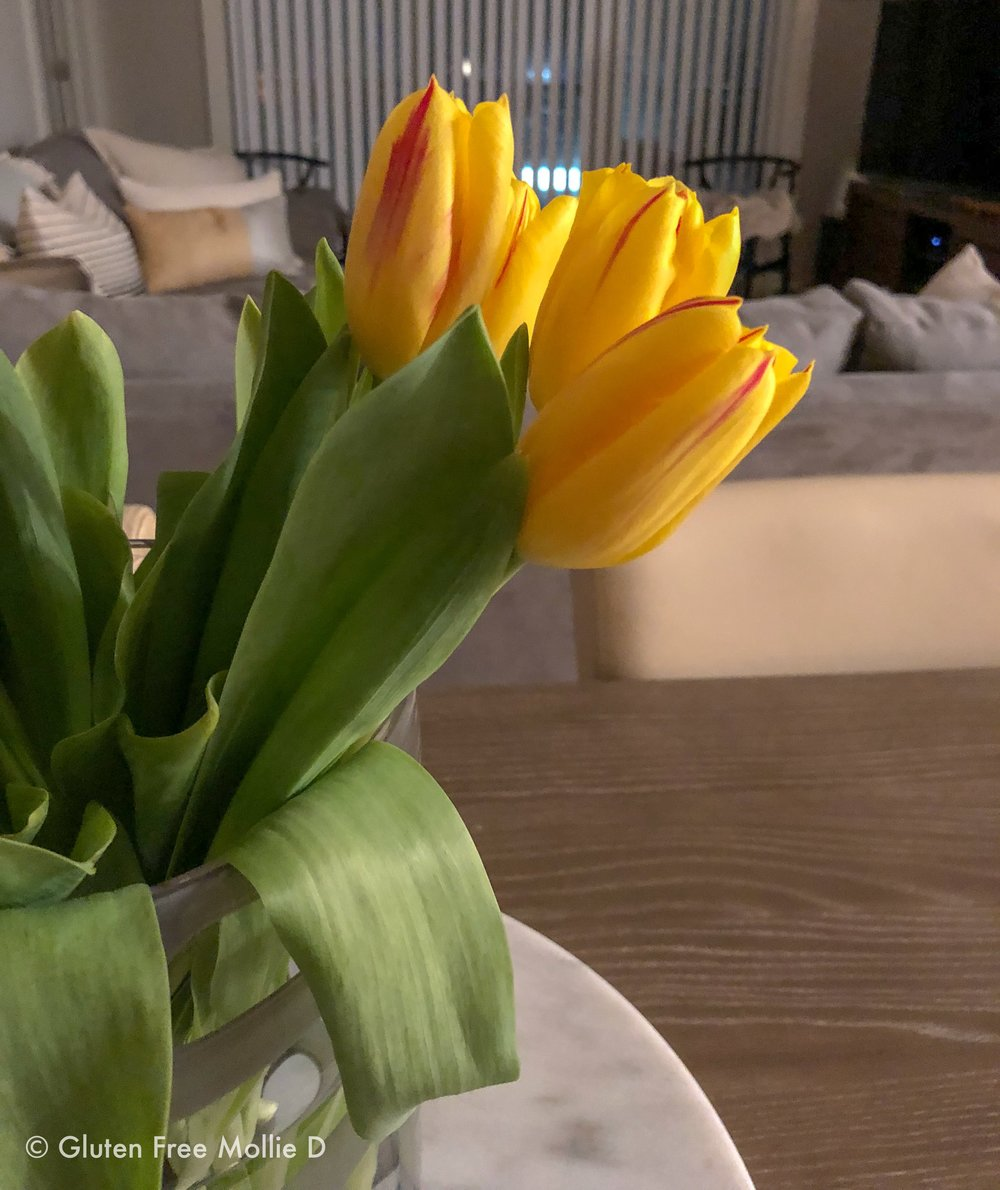 Bright tulips for the kitchen table. :)