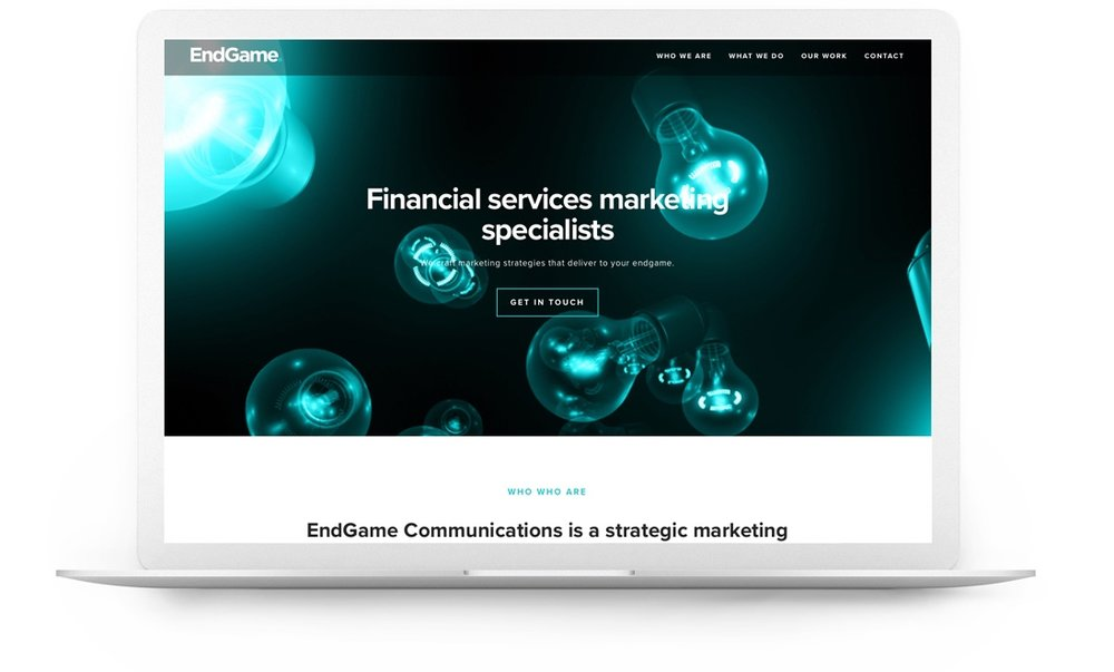 Squarespace website example - Endgame Communications
