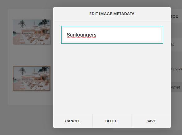 Squarespace product alt text entry