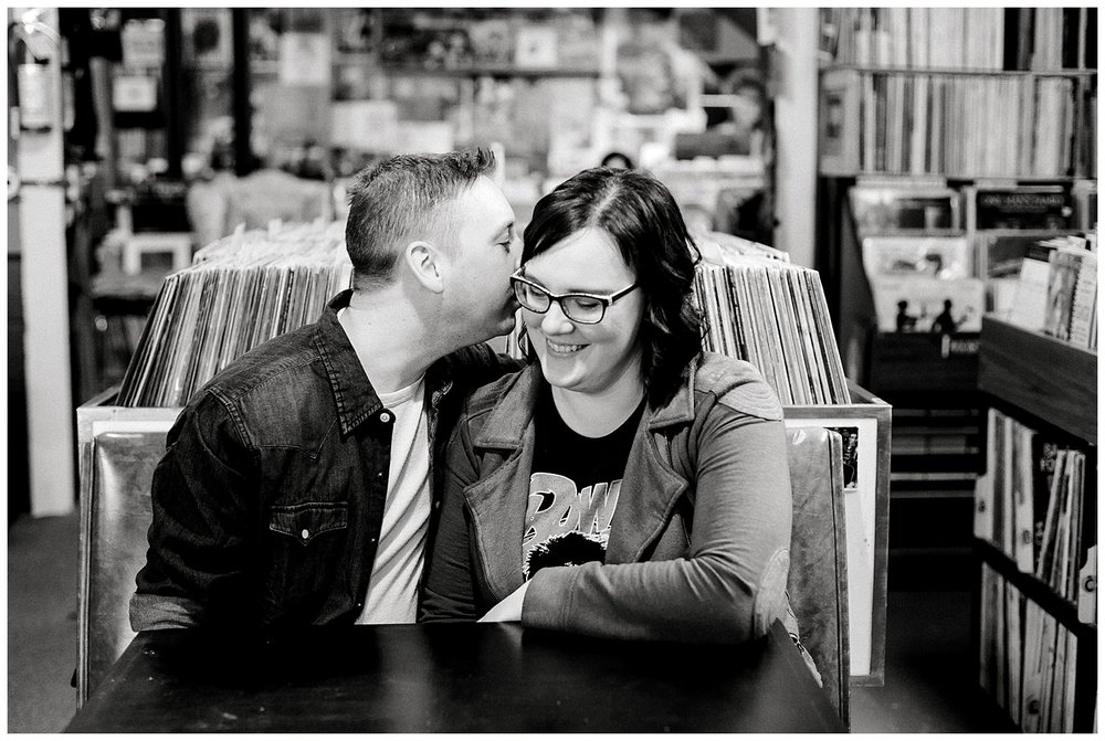 Hymie's Vintage Records Engagement session Lauren Baker Photography Winter engagement session