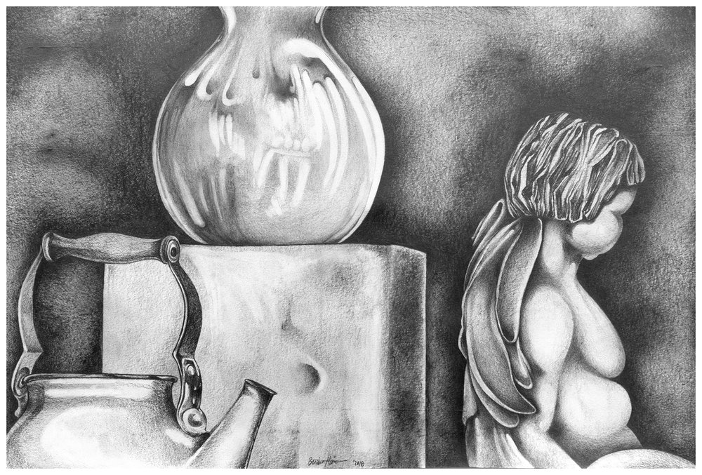 Brianna Harris. Graphite on Paper. Still life Study. 2018.