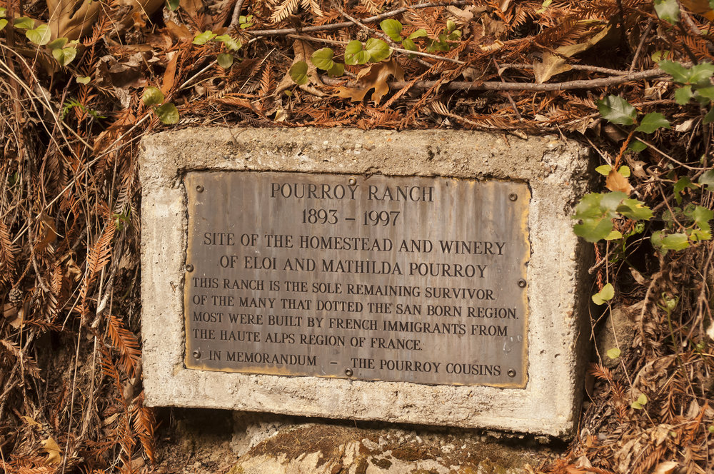 Plaque about Pourroy Ranch
