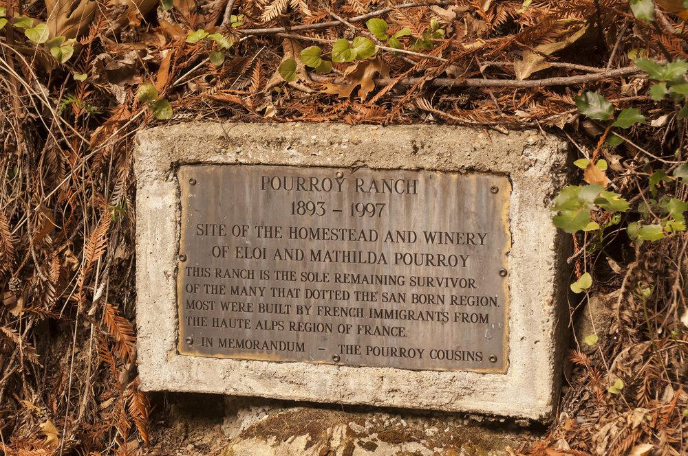 Plaque about Pourroy Ranch