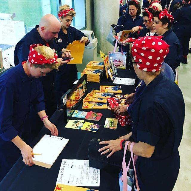 Our team of Rosies working hard at last October's @guinnessworldrecords win at @easternmichigan. We can't wait to have Rosie, a Detroit Herstory, out in August and be back at our vendors table telling Rosie stories and hanging out with all of you! Rosie on! . . . #rosietheriveter #Rosie #WorldWarII #Costume #TributeRosie #RosieAdetroitherstory #detroitherstory #detroit #book #youngadultbooks #childrensbook #nonfiction #wsupress @wsupress #bookcharacter #womenwarworkers #detroitwoman #reading #author #illistrator #outfit #historicaloutfit #rosietheriveter #writer #instabook #yaauthor  #book #tributerosies #michigan #history #femaleheroes #sheroes