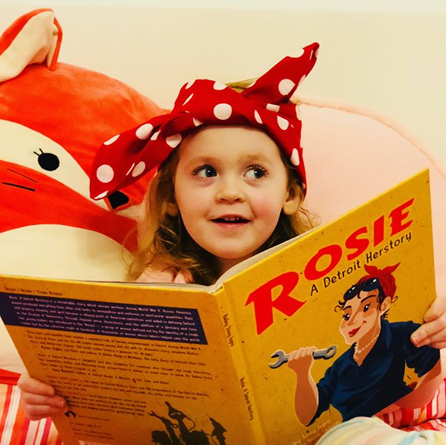 Not all superheroes wear capes, some are real and they sport headscarfs! At just four years old Rosie- Caitlin is learning about the real superheroes who came to be known as Rosie the Riveter! . #rosietheriveter #Rosie #WorldWarII #Costume #TributeRosie #RosieAdetroitherstory #detroitherstory #detroit #book #youngadultbooks #childrensbook #nonfiction #wsupress @wsupress #bookcharacter #womenwarworkers #detroitwoman #reading #author #illistrator #outfit #historicaloutfit #rosietheriveter #writer #instabook #yaauthor  #book #tributerosies #michigan #history #femaleheroes #sheroes