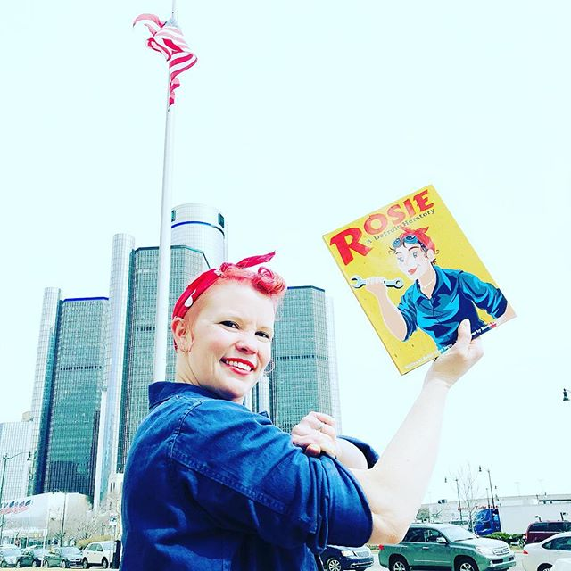 Nicole, our illustrator extraordinaire is flexing her musical outside of the @gmrencen today! . . . #rosietheriveter #Rosie #WorldWarII#Costume #TributeRosie#RosieAdetroitherstory #detroitherstory#detroit #book #youngadultbooks#childrensbook #nonfiction #dressup #yanonfiction #ya #childrensnonfiction #nonfiction #picturebook #rhymes #detroitrencen #Rencen @detroitmarriott @gmrencen #DetroitConey #Ww2 #worldwar2  #womenwarworker #womanauthor #womanillustrator #Coney  @wsupress #wsupress #youngadultbooks