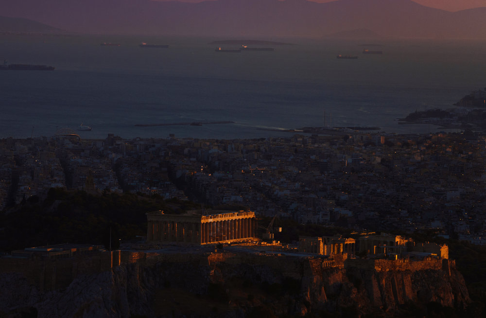 Last sunlight on the Acropolis of Athens
