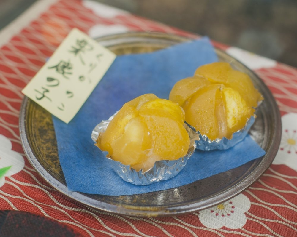 Wagashi  are prepared with seasonal foods like  kuri.