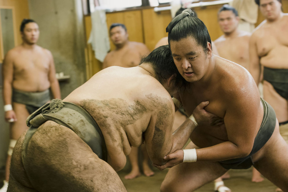 Watch ringside at a real Sumo training session. -
