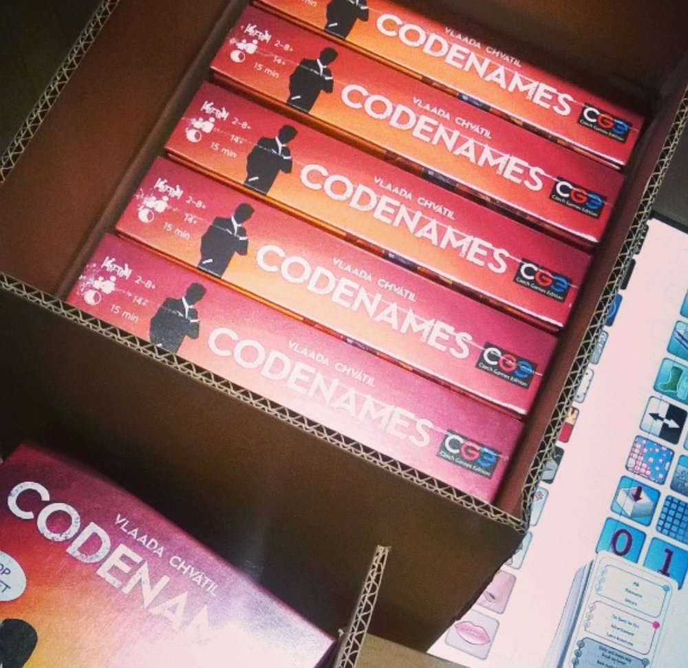 Spy-Themed Word Game for family game night - Codenames is a consistent bestseller at Cat-N-Mouse Games.