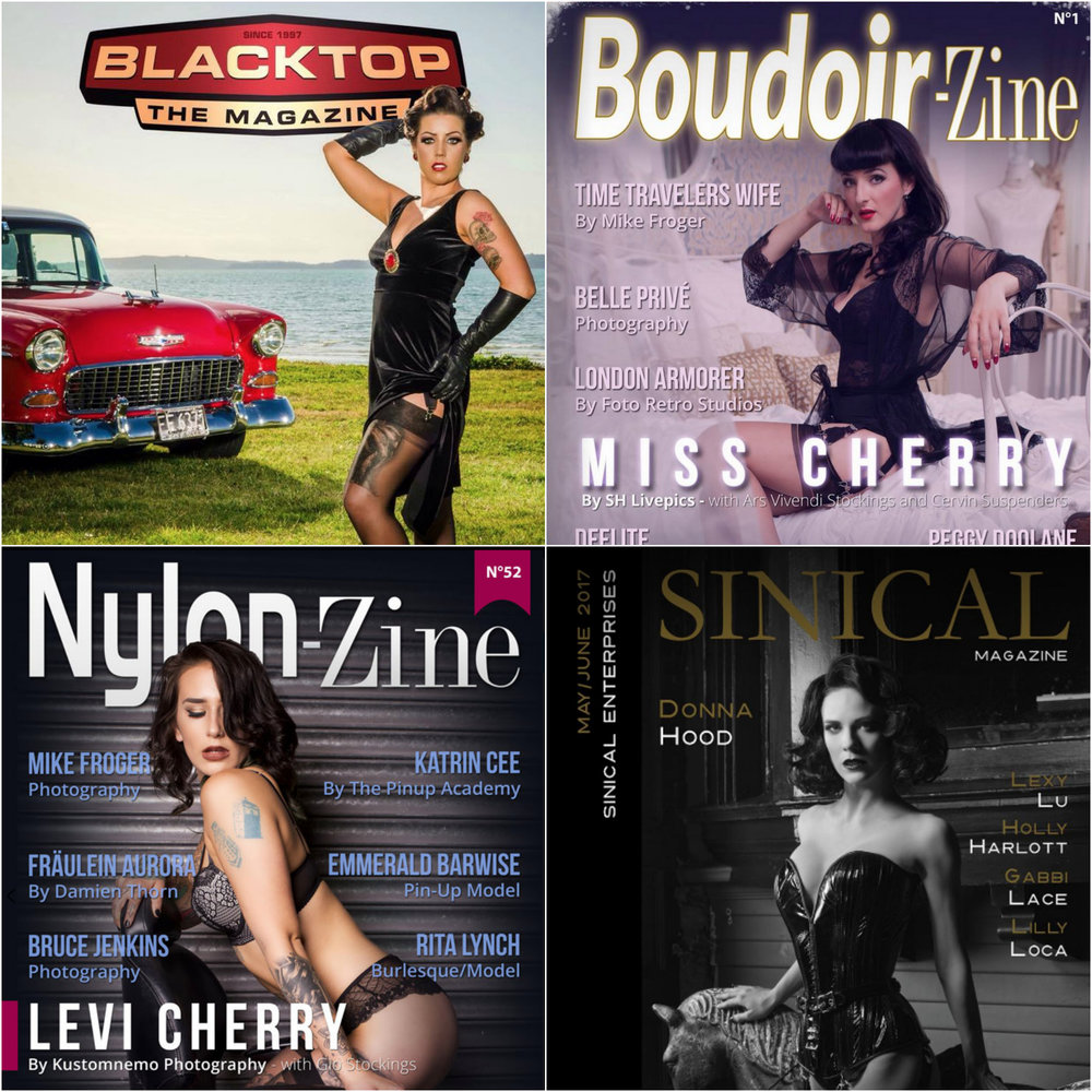 publications - My work is frequently published in various international magazines ... for example; Delicious Dolls, Retro Lovely, Sinical, Nylon-zine, Boudoir-zine and many others.