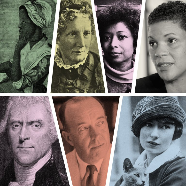 Clockwise, from top left: Phillis Wheatley, Harriet Beecher Stowe, Alice Walker, Michelle Alexander, Margaret Mitchell, Edgar Rice Burroughs and Thomas Jefferson.CreditHulton Archive/Getty Images (Stowe); Associated Press (Walker); Getty Images North America (Alexander); Atlanta History Center (Mitchell); Bettmann/Corbis/Associated Press Images (Burroughs); Hulton Archive/Getty Images (Jefferson)