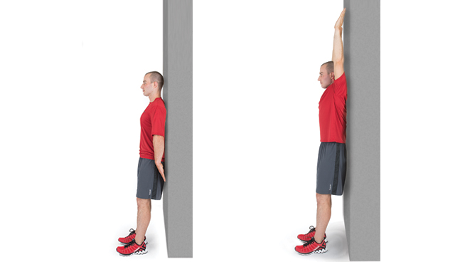 Thumb to Wall Test: this test can be used to measure shoulder mobility. You should be able to touch the wall for full shoulder mobility.