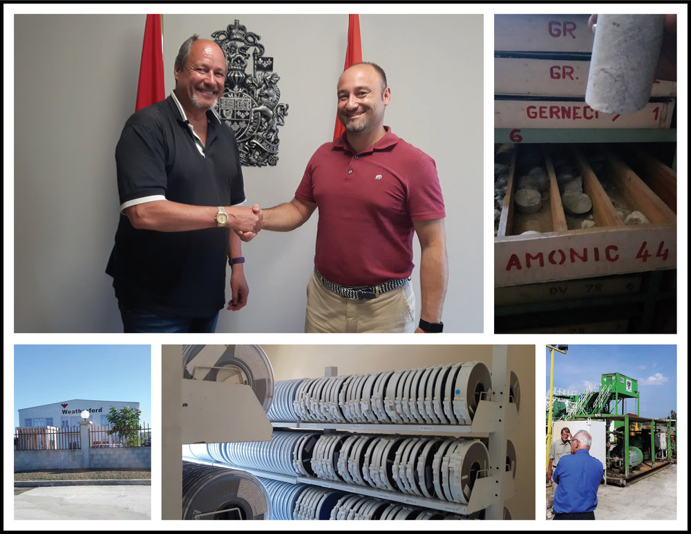 CLOCKWISE FROM TOP LEFT: Pennine CEO N. Desmond Smith meets Albania's Canadian consulate officials; well drilling core sample repository in Fier; service and supply visit; Ministry of Energy and Industry's seismic data storage centre; another service and supply call. A busy week for Pennine leadership in Albania in early June 2017.