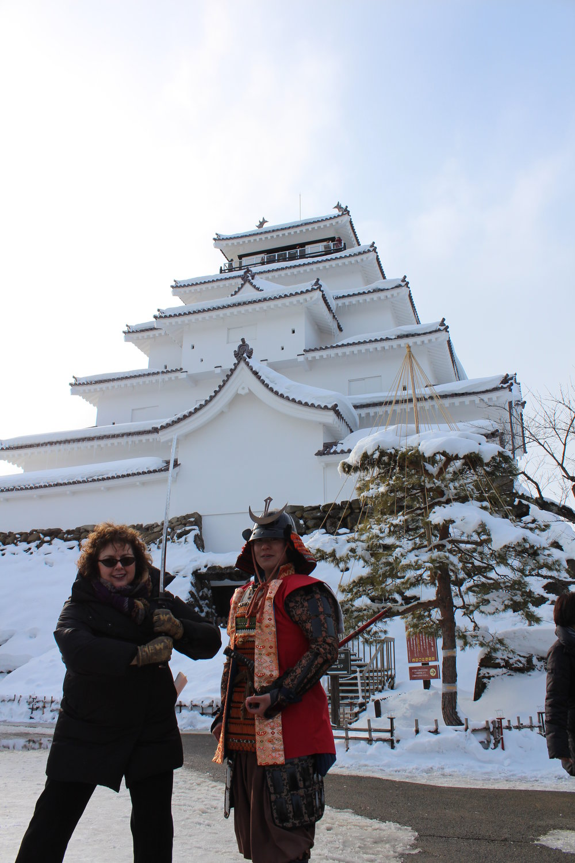 Samurai Laurie at Tsuruga-jo Castle, Fukushima.JPG