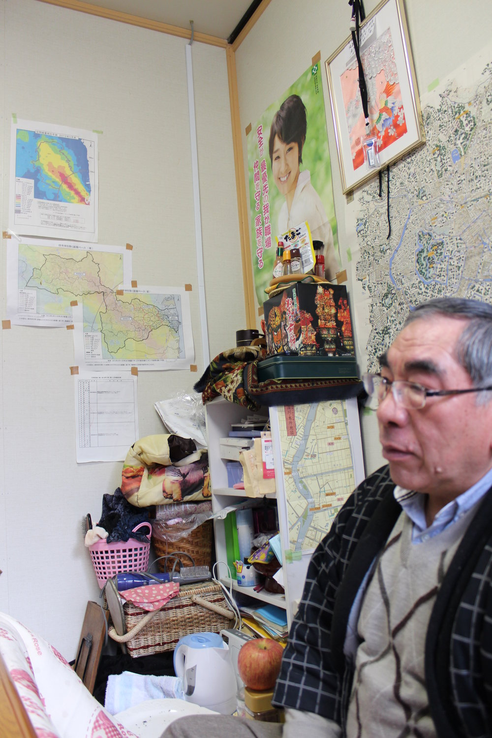 He lost his home due to Fukushima radiation and now lives in a cramped trailer, far from home.JPG