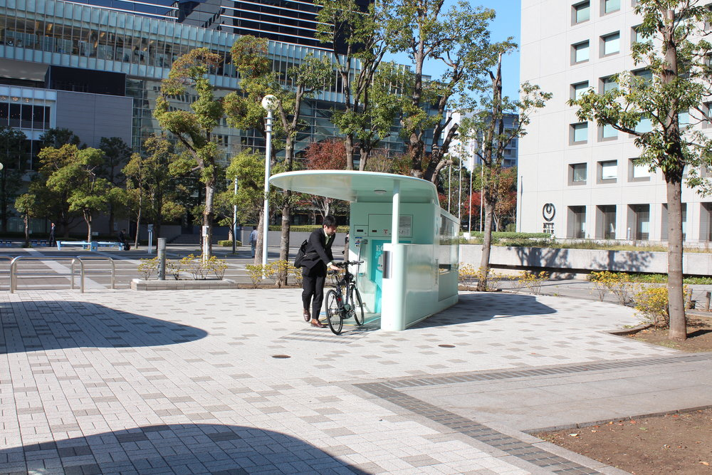 Amazing Tokyo bike parking pulls bike into device and in seconds it's in a secure underground carousel.24.JPG