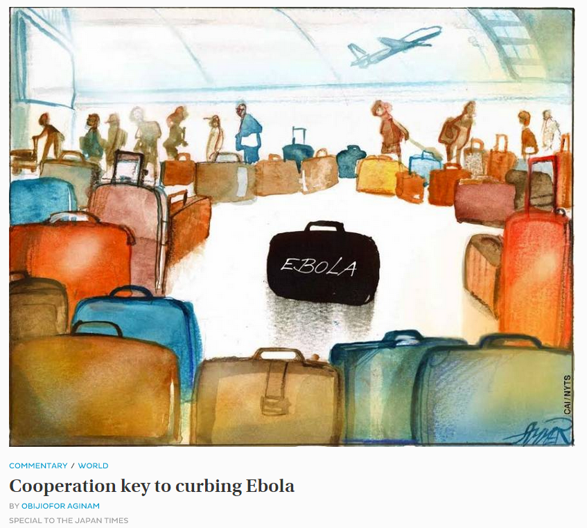 Cartoon of an Ebola suitcase in an airport, from Japan Times Oct 8, 2014.PNG