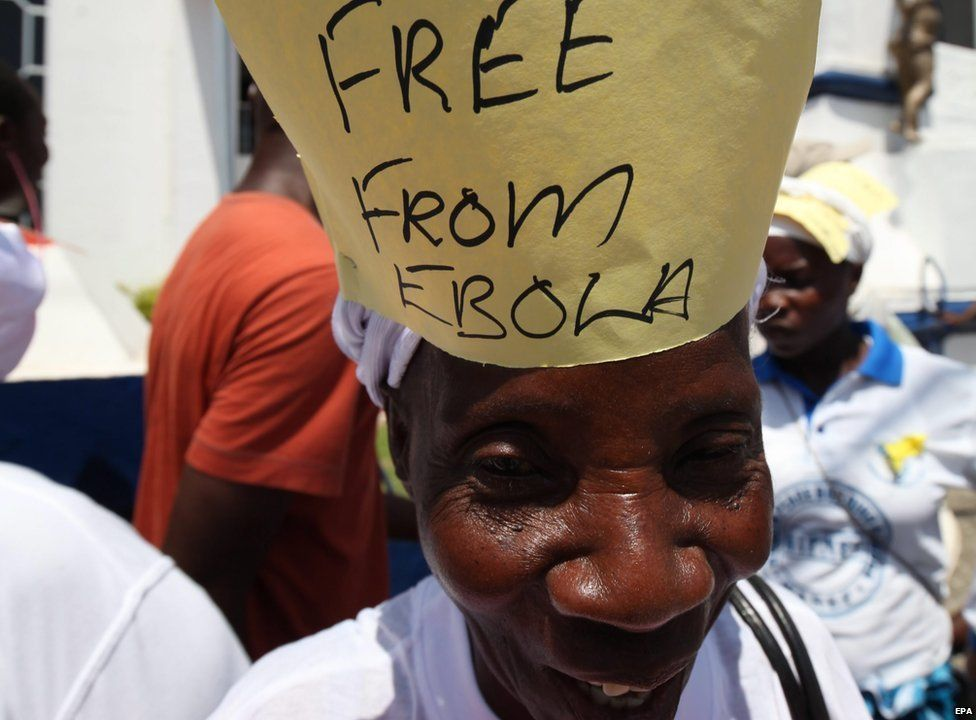 Free From Ebola, prematurely celebrated in  Liberia, from the BBC.jpg
