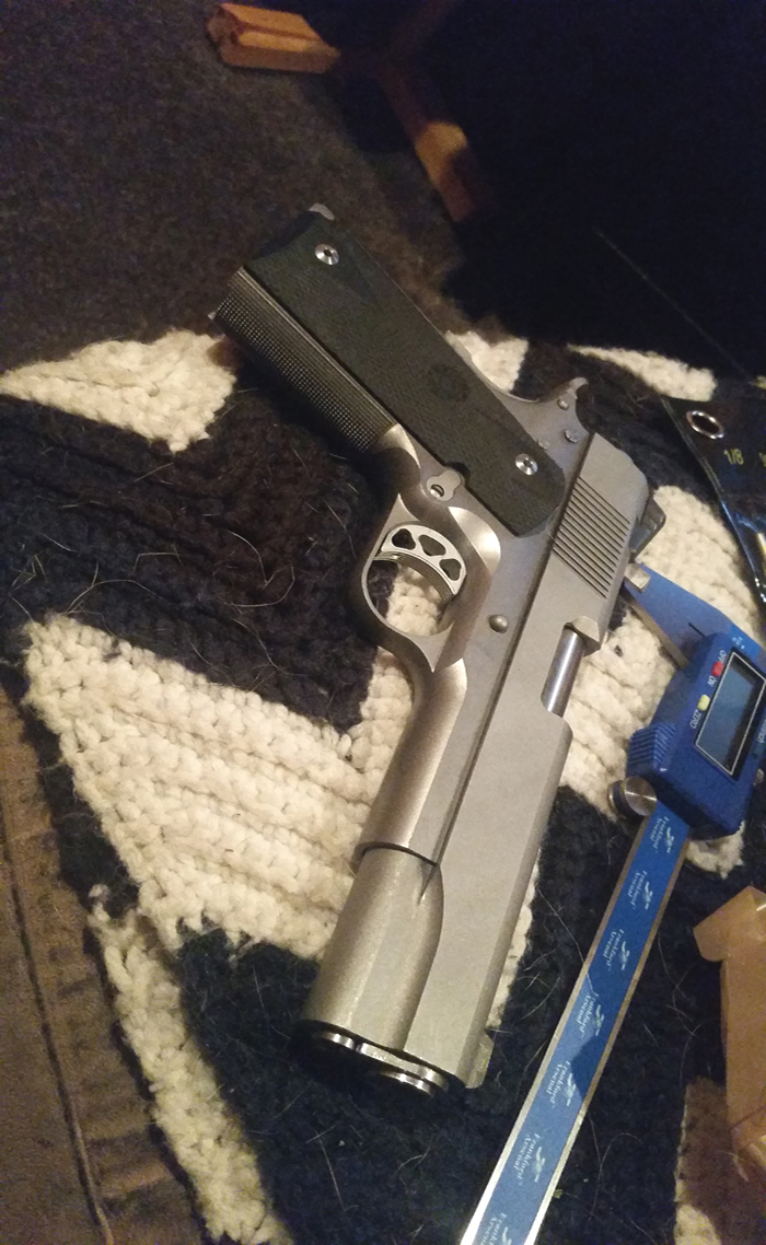 "a 1911builders.com steel frame with checkering: ""The jig was perfect. Thanks again for everything! Wouldn't have even started without the confidence the jig gave me!!"""