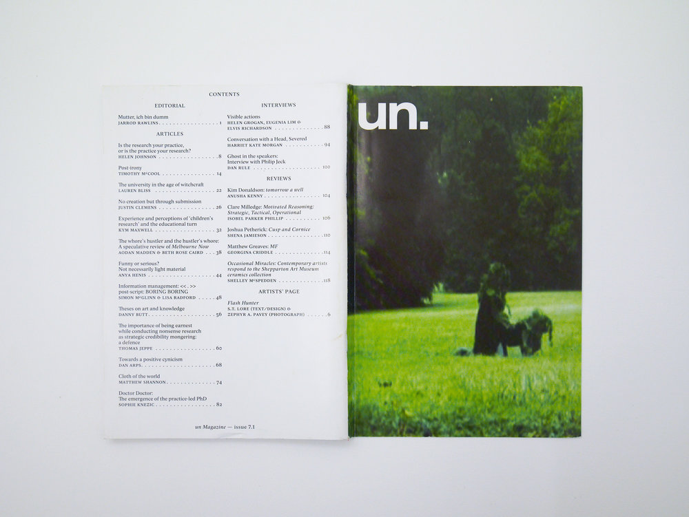 "*Cover Image: A Constructed World, ""Treesex"", 2010 (detail), costumes, mixed media, dimensions variable, courtesy a constructed world and solang Production Paris and Brussels  Author: S.T. Lore Client: UN Magazine Photographer: Zephyr Pavey Designer: Brad Haylock Pages: 137 Format: Softcover, Grange Offset 70 GSM, Full Colour, Edition of 1000 Year: 2013, ISSN 1449-6747"