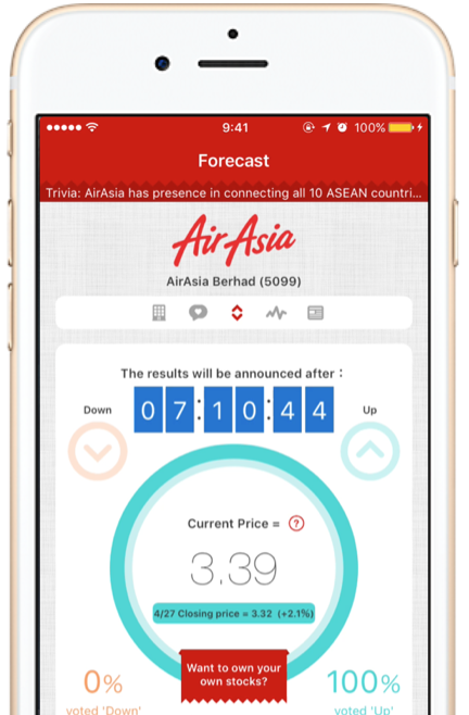 Forecast tomorrow'sstock price! - Everyday, one company's stock will be highlighted in the app. Use your wits to predict if tomorrow, the stock's price will increase or decrease in comparison to today's price!