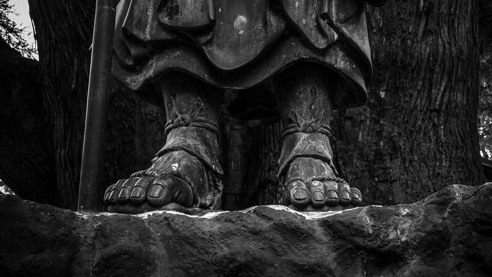 The typically over-enlarged feet of  Kobo Daishi , around whose life & mythology  Shikoku's 88 Temple Pilgrimage  evolved, as represented in a huge statue on the mountain climb to  Shosan-ji , temple #12, Tokushima.