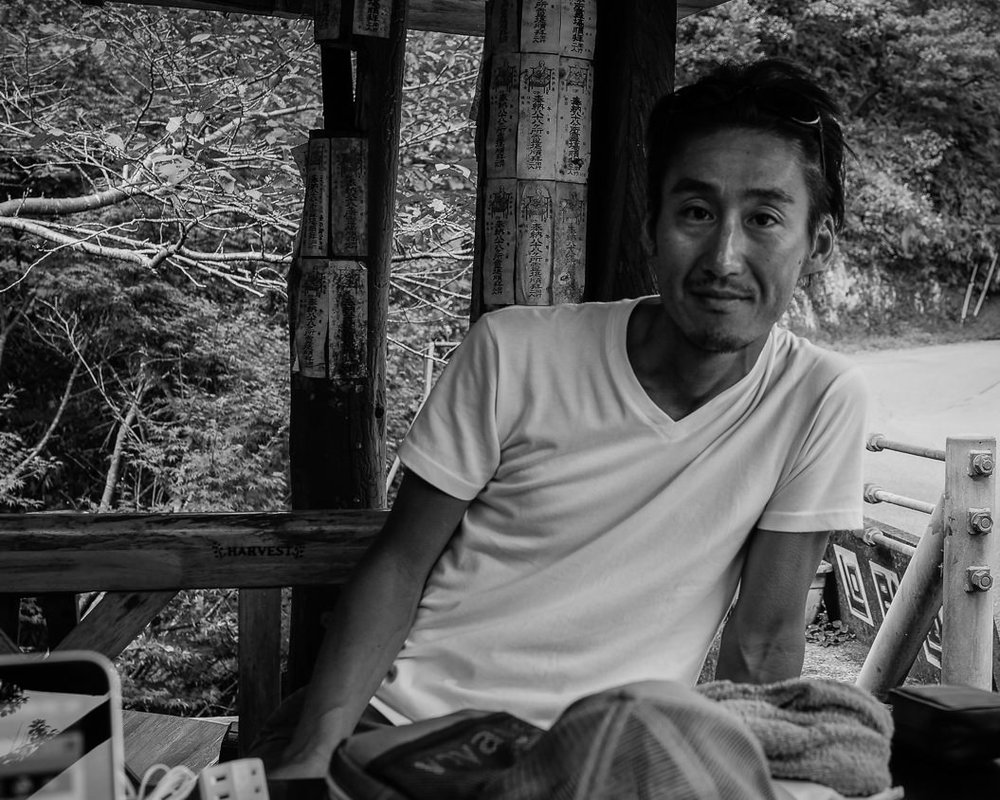 A resting pilgrim in a roadside shelter, Cape Ashizuri, Kochi. I spent the night here in 2015 - this fellow and a few others stopped in to rest in the morning during their walk to the tip of the cape & temple #38. I stopped by again this year after getting lost the night before (sound familiar?) & stealth-camping beneath the eaves of a fishing-village shrine. The plus side was that I met two excellent young Frenchmen here this time around.