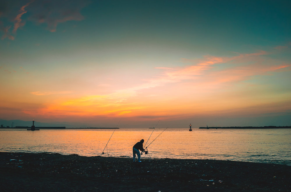 Dawn fisherman on the Kochi coast. This was the second place where I parked my sleeping bag in the same spot in 2015 & 2017.