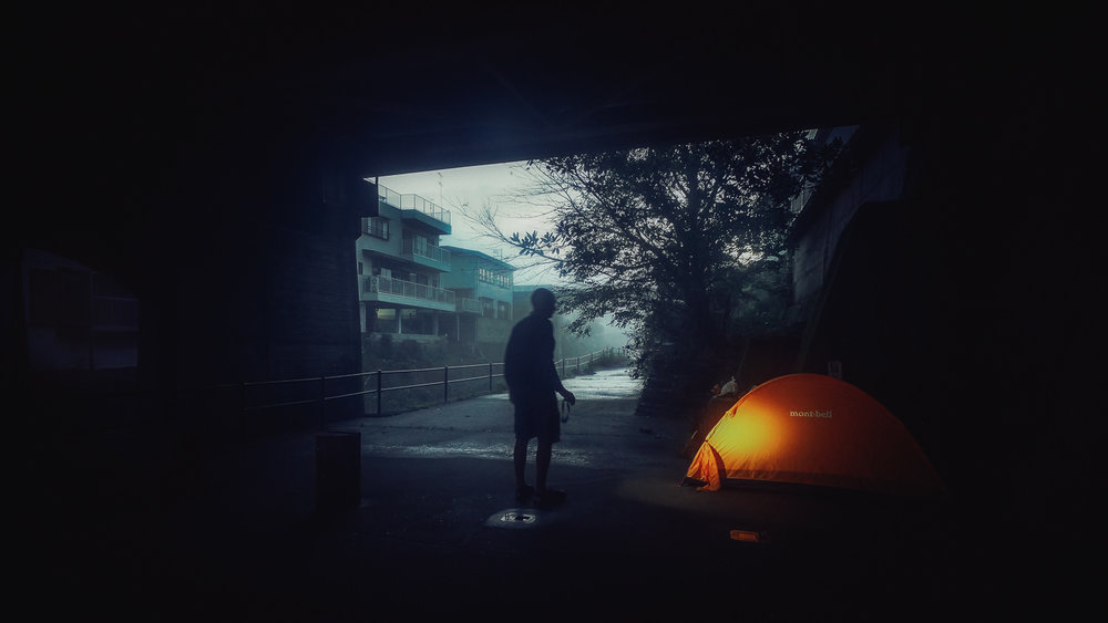 Before dawn under a bridge near Iwamoto-ji, temple #37, Kochi. There were only two nights on my recent Henro when I camped in the same spot as in 2015. This was one. That's me &my Mont-Bell tent. This year during my Shimanto River side-trip I came down the river to temple #37 after leaving the Henro near temple #36. A brief visit to Iwamoto Temple, a night in this same spot & back to following the river to the sea.